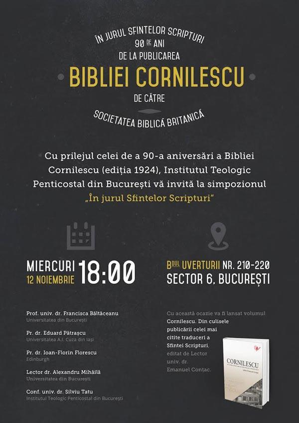 În jurul Sfintelor Scripturi: 90 de ani de la publicarea Bibliei Cornilescu de către Societatea Biblică Britanică.